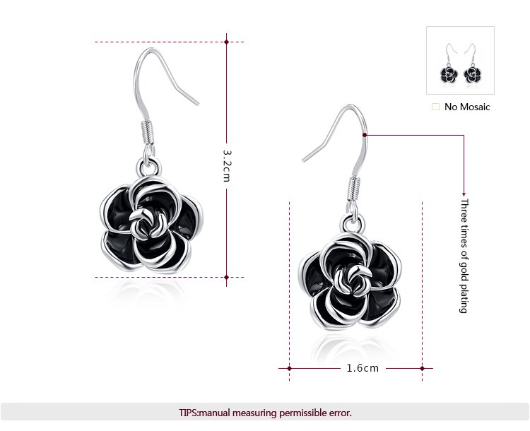 Black Rose Drop Earrings White Gold