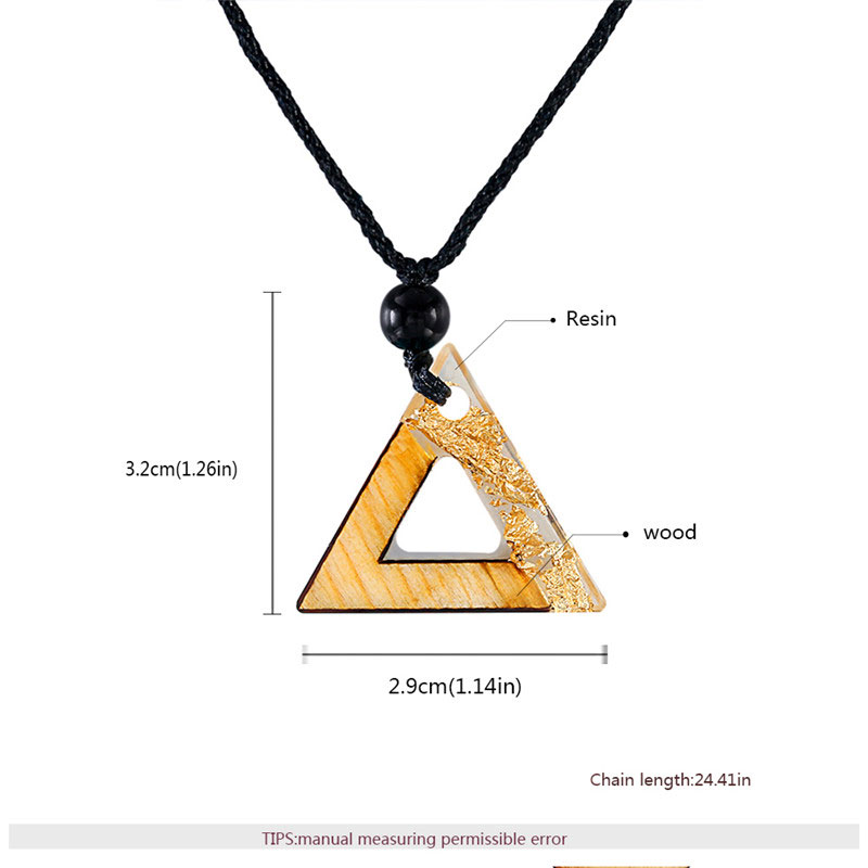 Triangle White Resin Gold Foil Necklace
