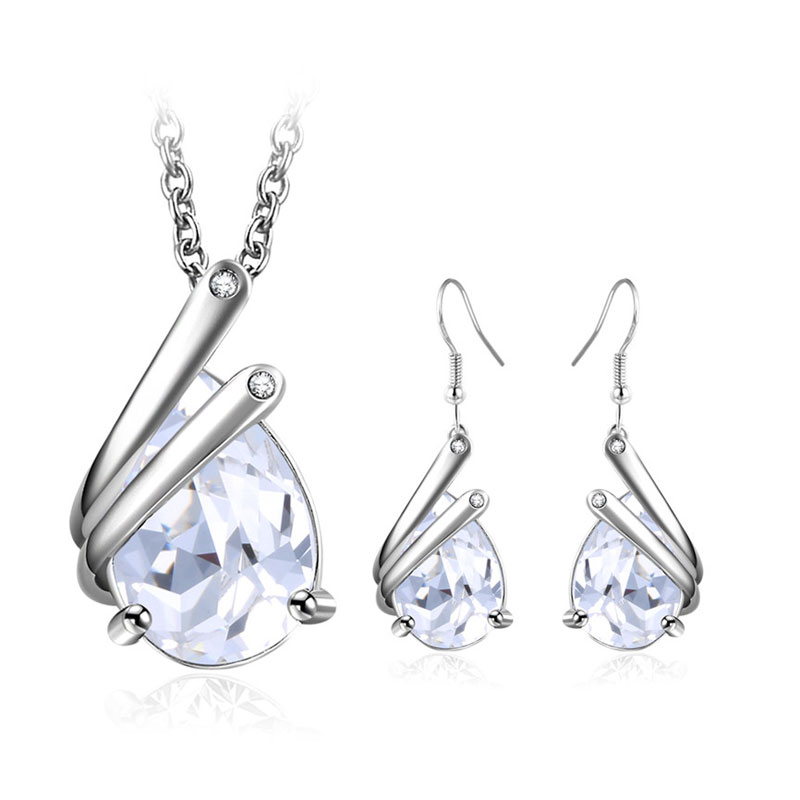 Half-Enclosed Teardrop Gemstone Set