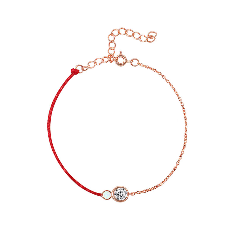 Red Cord / Rose Gold Chain Bracelet