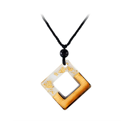 Square Frame White Resin Gold Foil Necklace