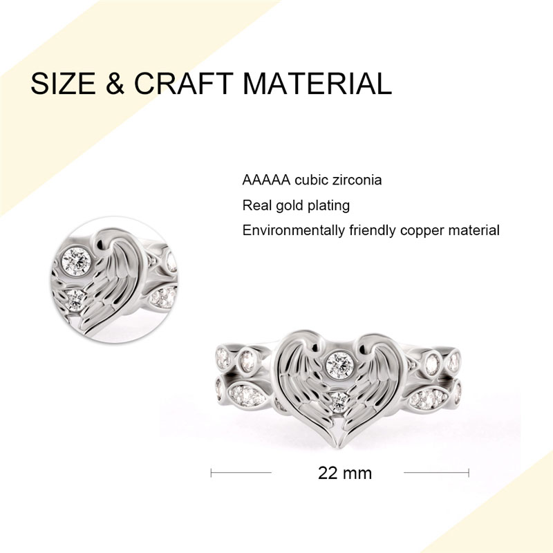Angel's Wings Fit In Heart Couple Rings - 2
