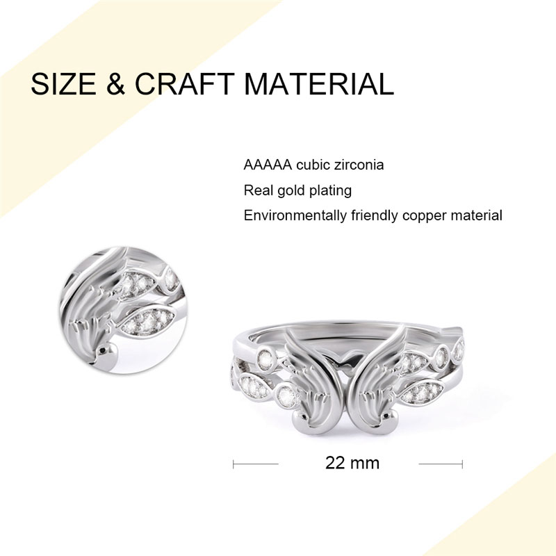 Angel's Wings Fit In Heart Couple Rings - 1