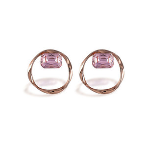 Retro Geometric Abnormity Rose Earrings