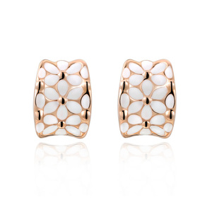 White Petals Rose Gold Earrings