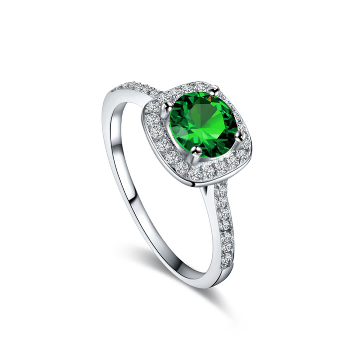 Hearts and Arrows Green Zirconia Wedding Ring