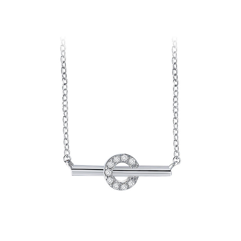 Bar of Halo White Gold Necklace