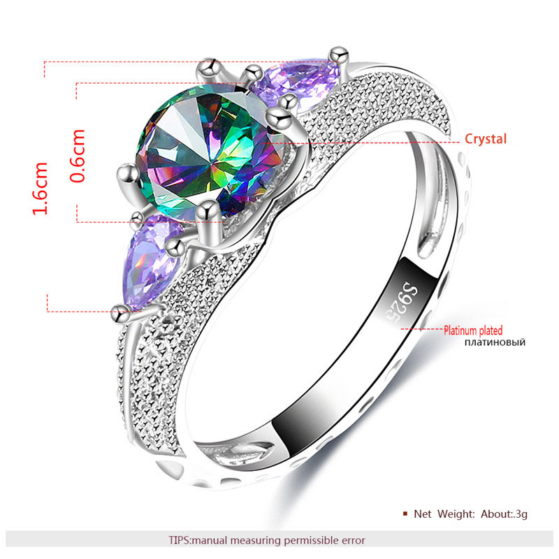 Round Coloured Diamond & Teardrop Purple White Gold Ring