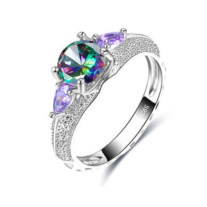 Round Coloured & Teardrop Purple Diamond Ring