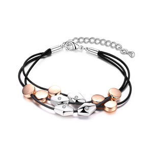 Round and Rhombus Two-Tone Bracelet