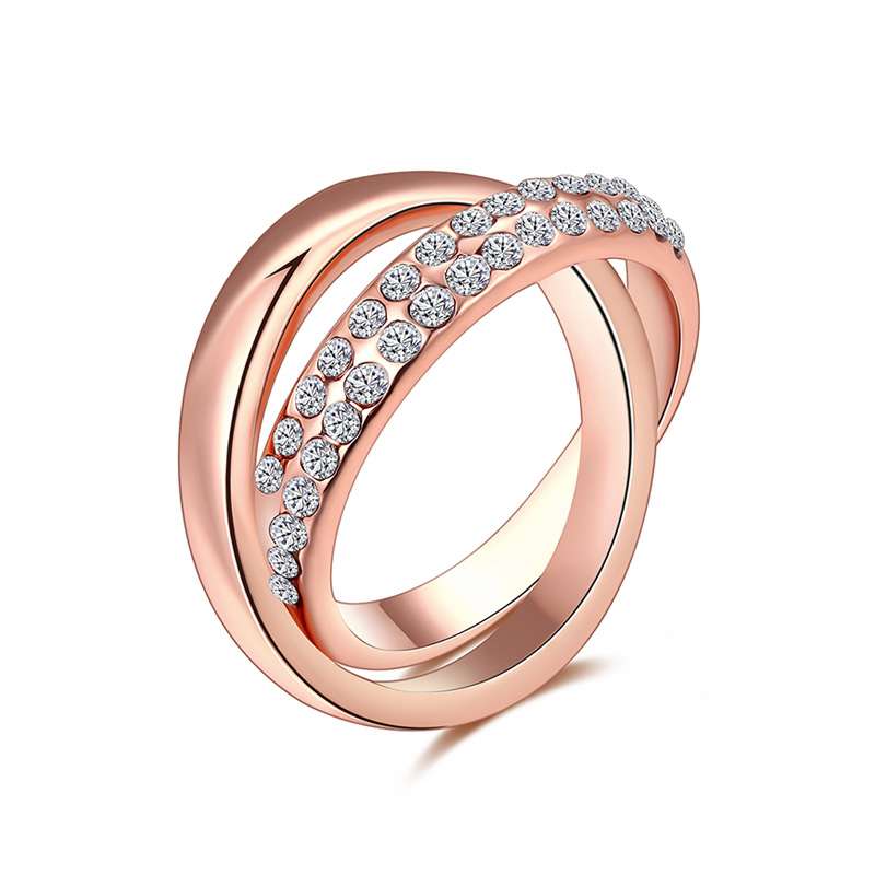 Double Loop Cross Rose Gold Ring
