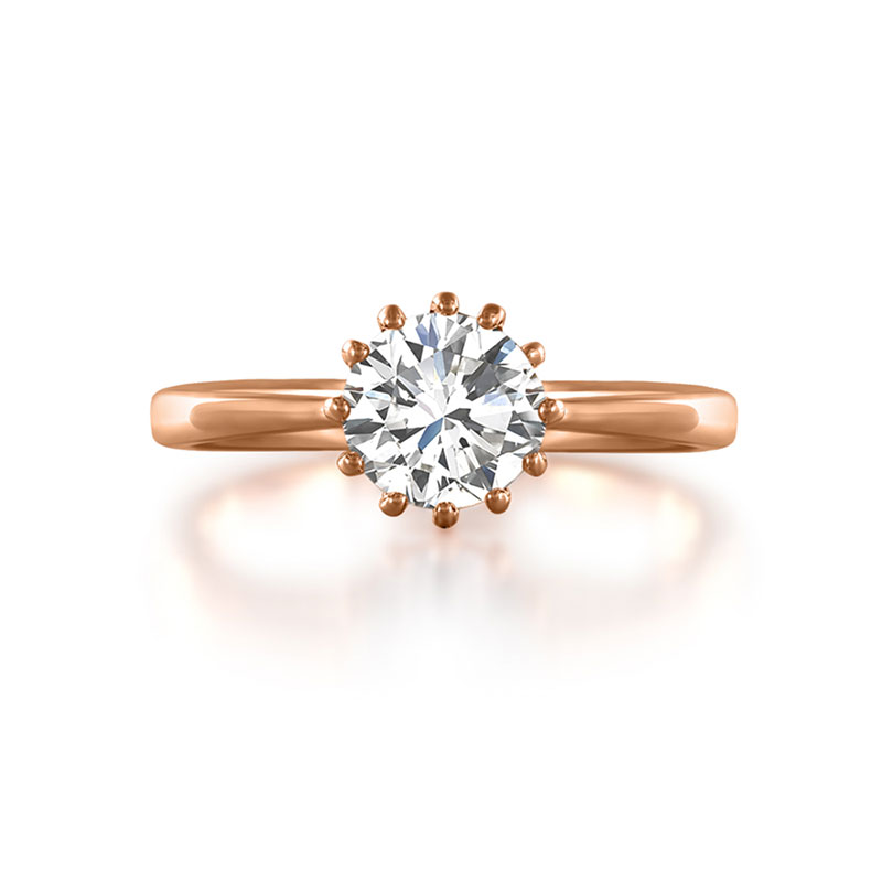Classic Style Solitaire Rose Gold Ring