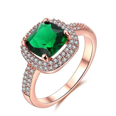 Sun Vow Emerald Diamonds Wedding Ring - Rose Gold