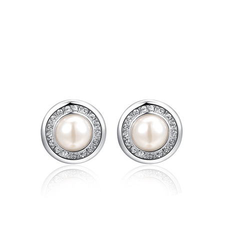 White Gold Round Pearl Stud Earrings
