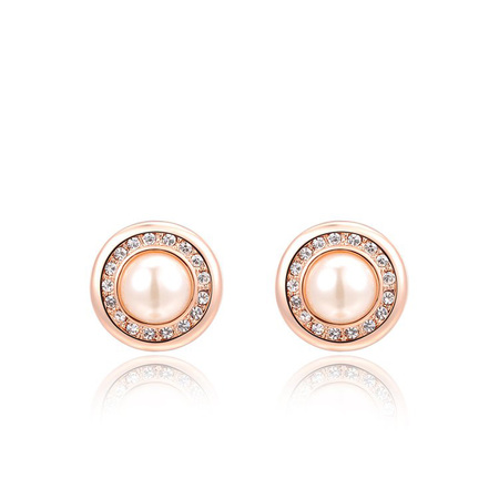 Rose Gold Round Pearl Stud Earrings