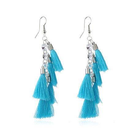 Layer Blue Tassel Earrings