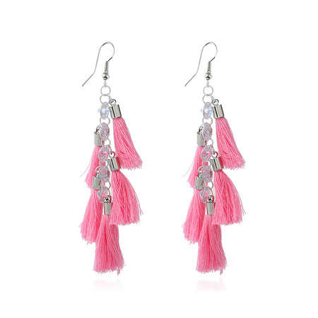 Layer Pink Tassel White Gold Earrings