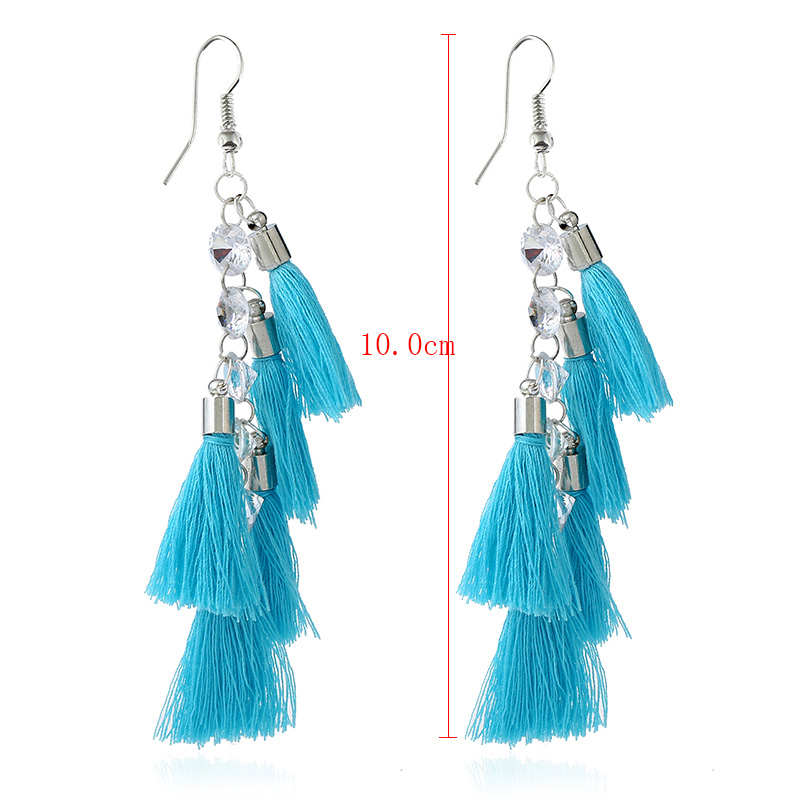 Layer Blue Tassel White Gold Earrings