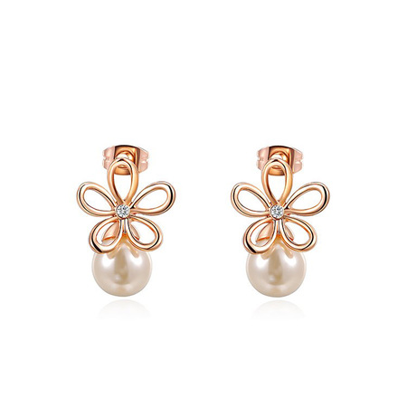 Cut Out Flower Pearl Stud Earrings