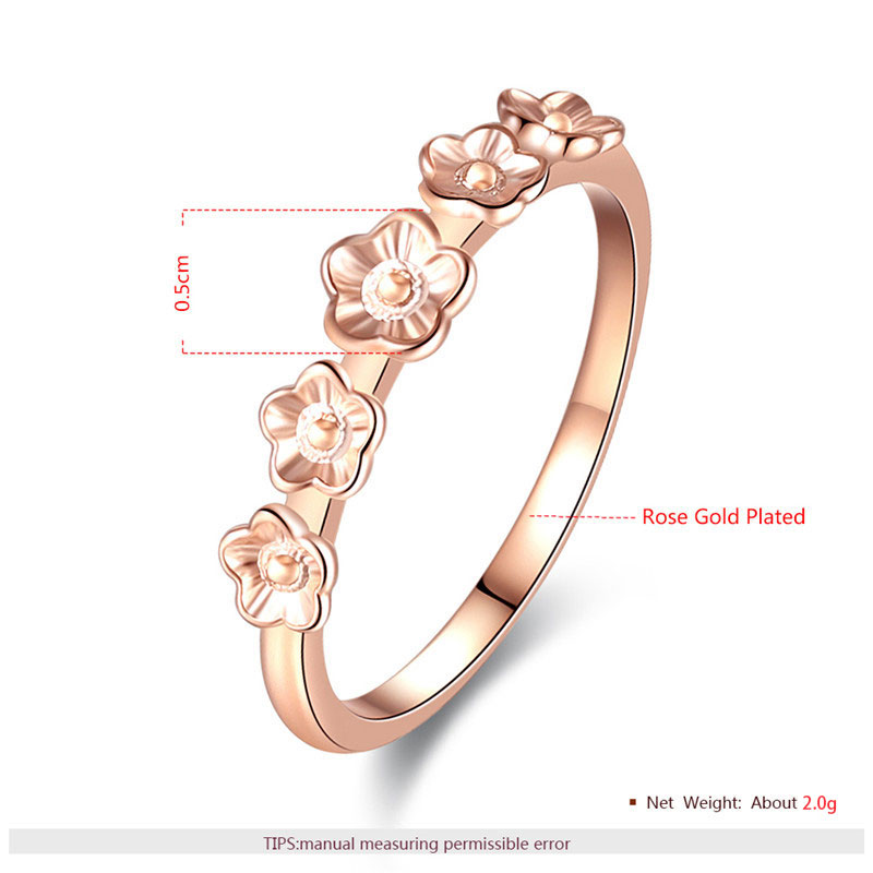 Five Flowers Rose Gold Ring