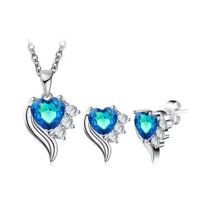 Angel's Wings Heart Sapphire Set