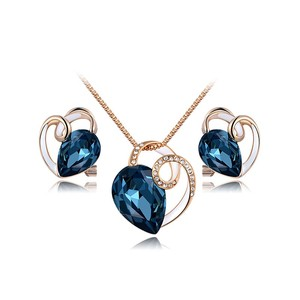 Blue Diamond Rose Gold Necklace & Earring Set