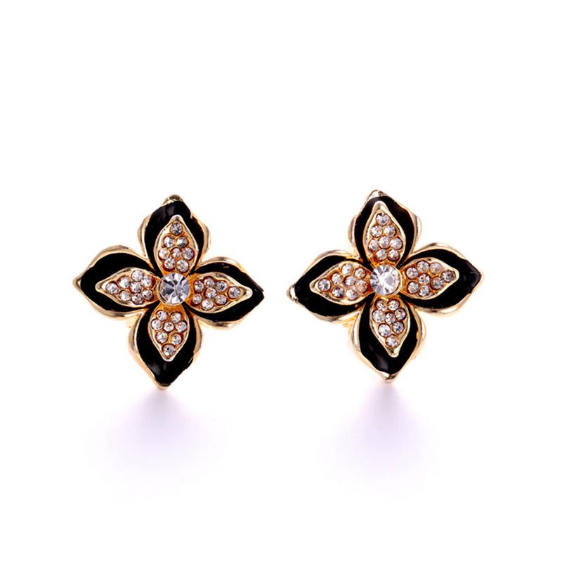 Black Lace Full Diamond Stud Earrings