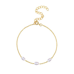 Three Pearls 18K Gold Chain Bracelet