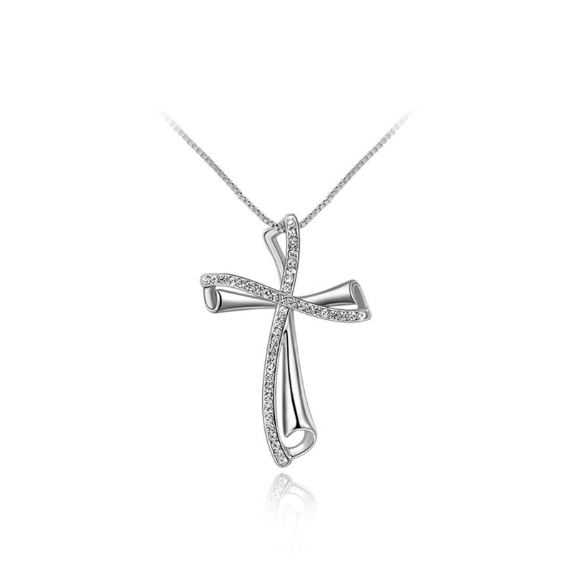 Oblique Cross White Gold Pendant