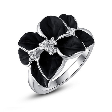 Black Flower White Gold Ring
