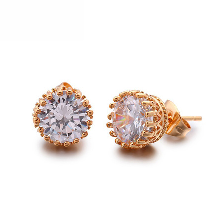 Round Single Diamond Simple Stud Earrings
