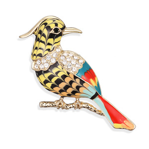 Colored Drawing Birdie Brooch