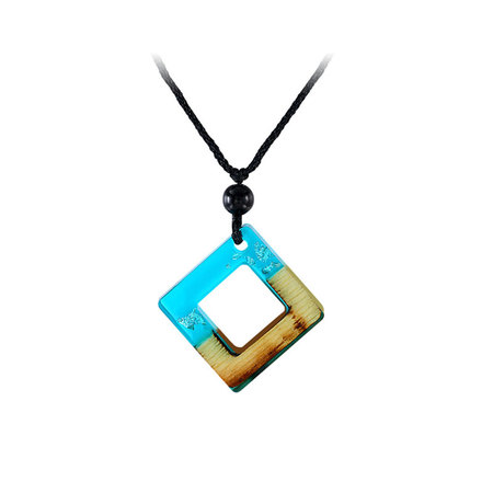 Square Frame Blue Resin Silver Foil Necklace