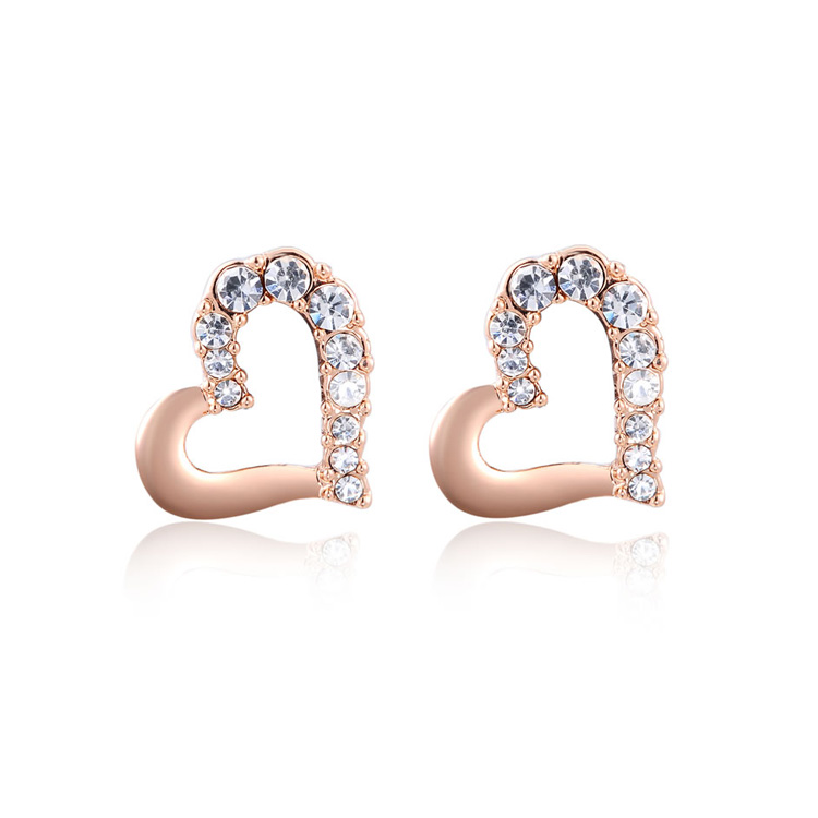 Heart Half Diamond Rose Gold Earrings