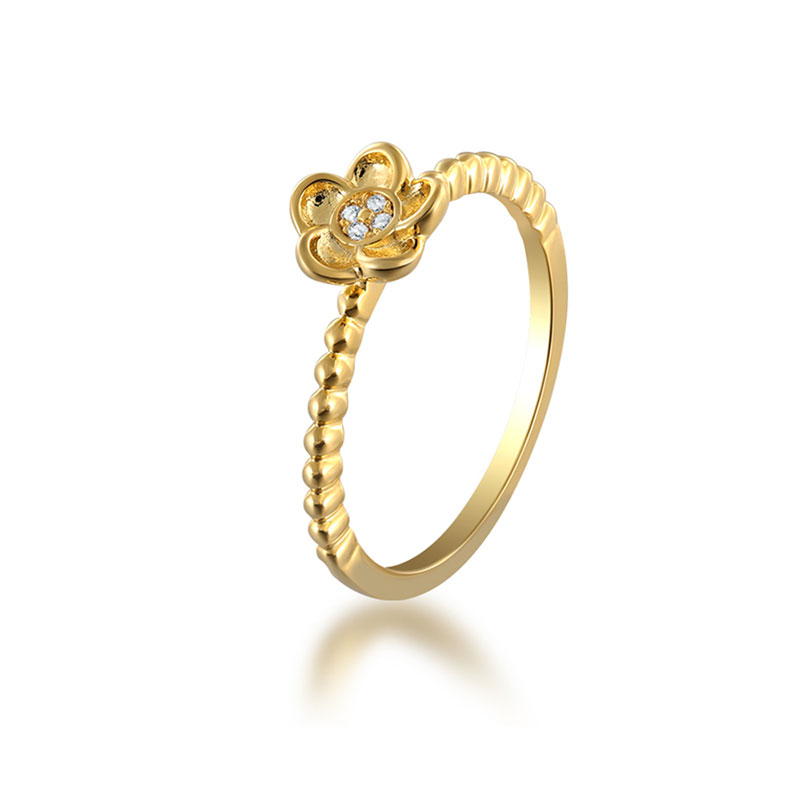 Ins Style Five Petals 18K Gold Ring