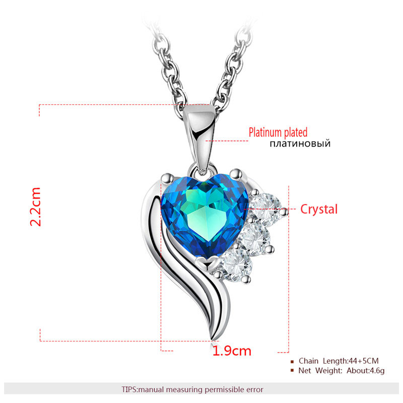 Angel's Wings Heart Sapphire White Gold Set - Necklace