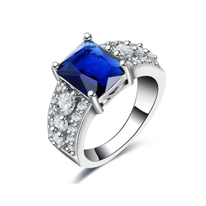 Radiant Sapphire & Three Row White Diamond Ring