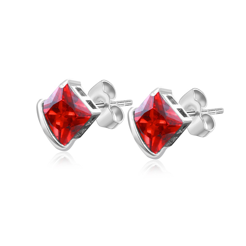 Rose Red Square White Gold Earrings