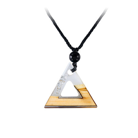 Triangle White Resin Silver Foil Necklace