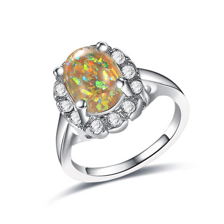 Yellow Fossil Opal White Gold Ring