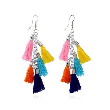 Layer Mixed Color Tassel White Gold Earrings