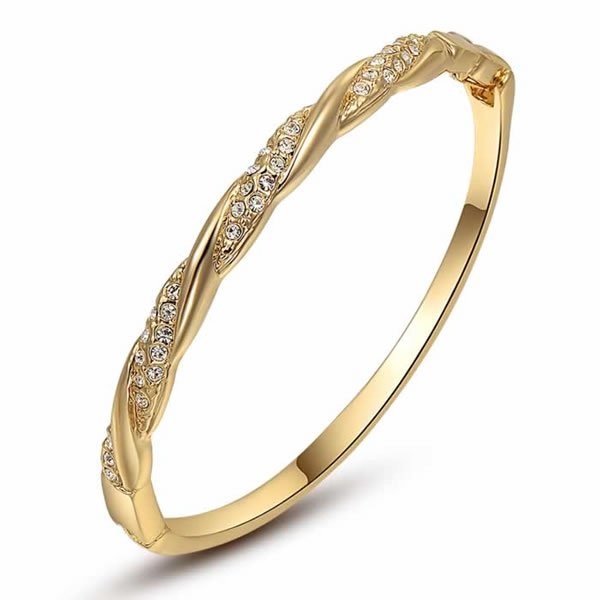 18K Gold Mixed Star Bangle
