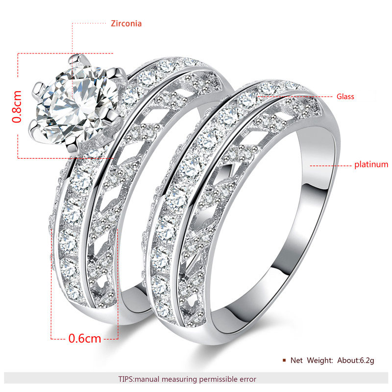 Classic Round Diamond Cut Out Leaf White Gold Ring Set