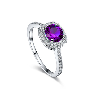 Hearts and Arrows Purple Zirconia Wedding Ring