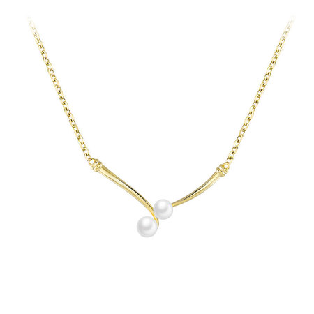 V Shape Double Pearl 18K Gold Necklace