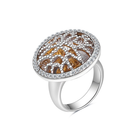 Raised Pattern White Gold Ring