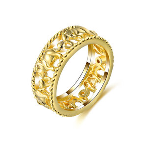 Elephant Surround Yellow Gold Ring
