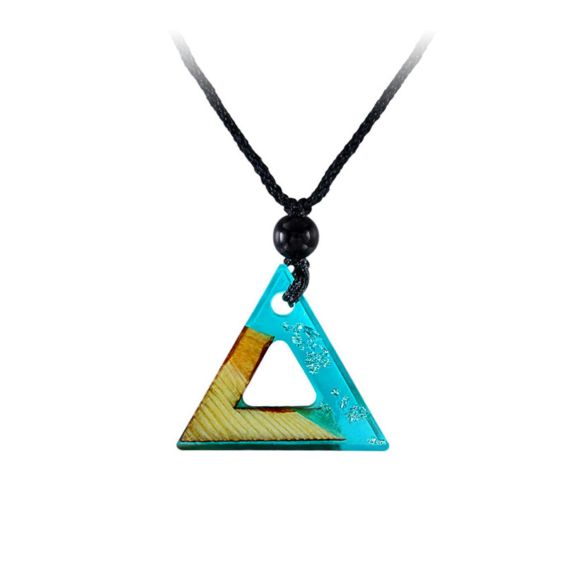 Triangle Blue Resin Silver Foil Necklace