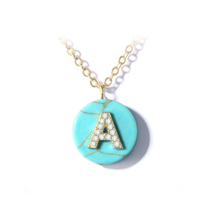 Natural Turquoise English Letters Necklace