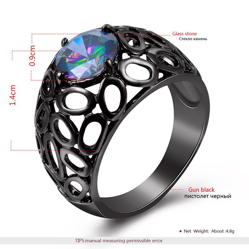 Round Coloured Diamond Black Ring